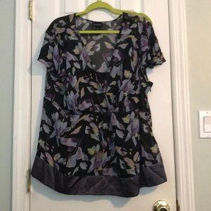 LaneBryant 22/24 sheer printed blouse with cami